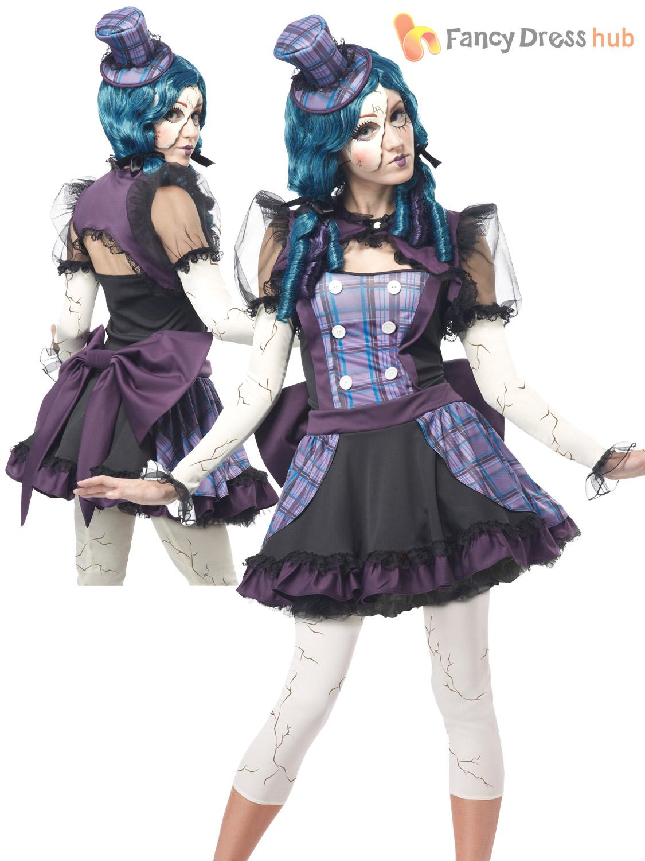 Ladies Twisted Broken  Voodoo Doll Womens Zombie Halloween Fancy Dress Costume