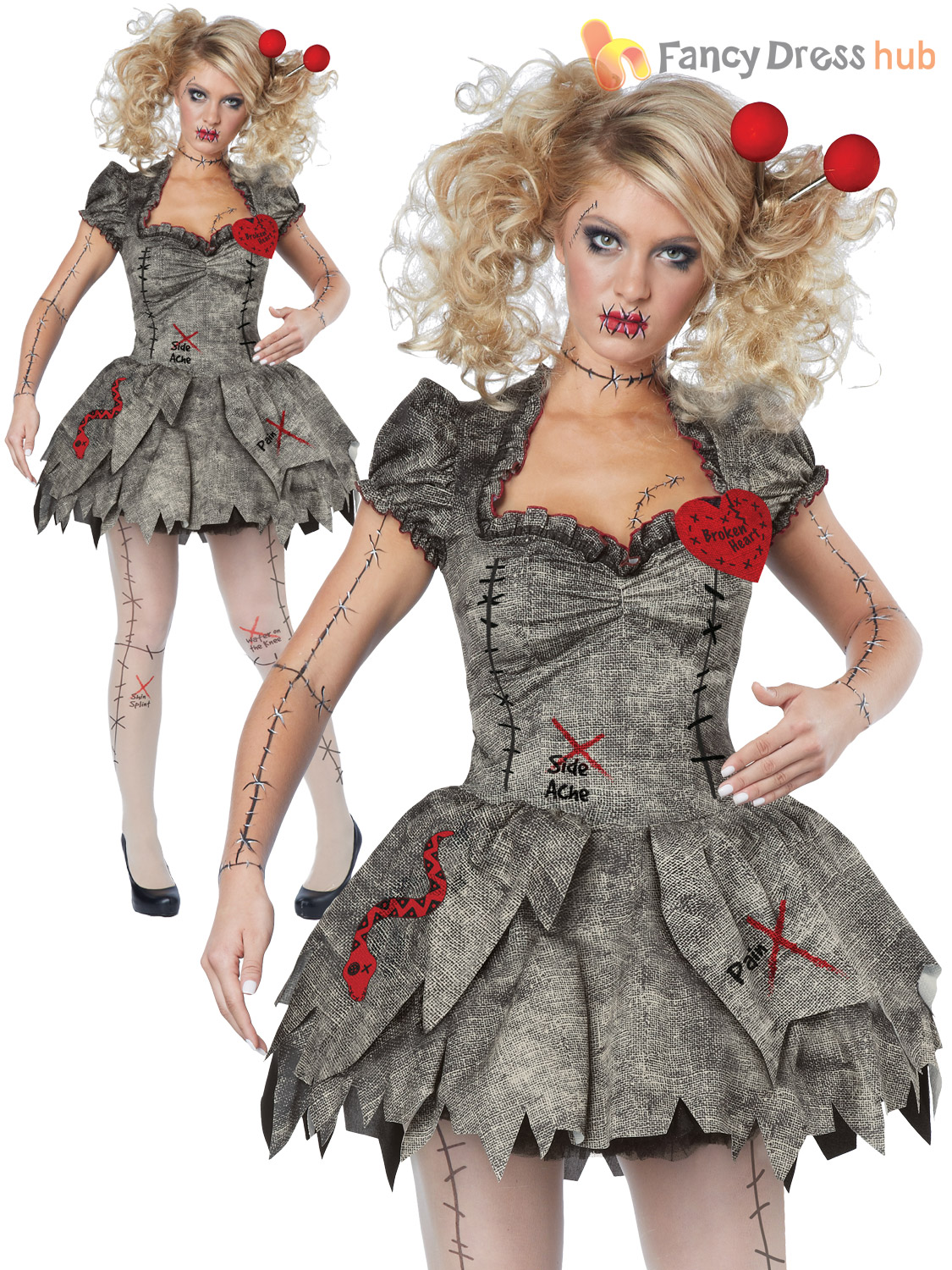 ladies twisted broken voodoo doll womens zombie halloween fancy dress costume ebay. Black Bedroom Furniture Sets. Home Design Ideas