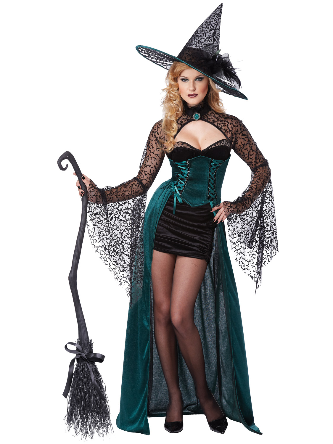 8-16 Ladies Deluxe Enchantress Witch Sexy Halloween Fancy Dress ...