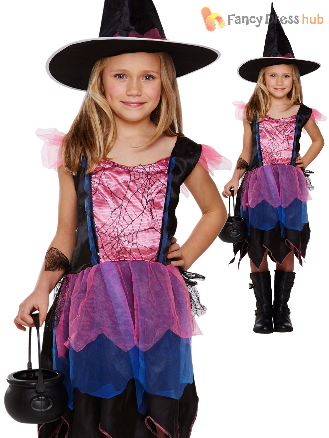 Hat Halloween Witches Fancy Dress Party Kids Child Age 4-8 Girls Witch Costume