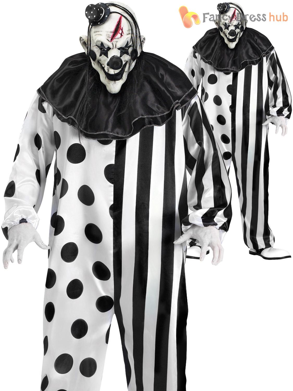 Mens Deluxe Killer Clown Costume Halloween Horror Scary Circus ...