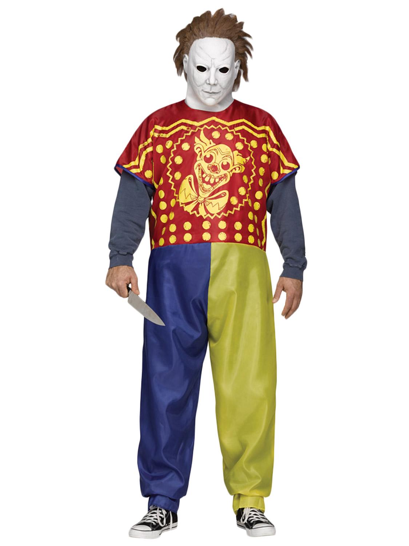 Michael Myers Clown Costume + Mask Rob Zombie Mens Halloween Fancy ...
