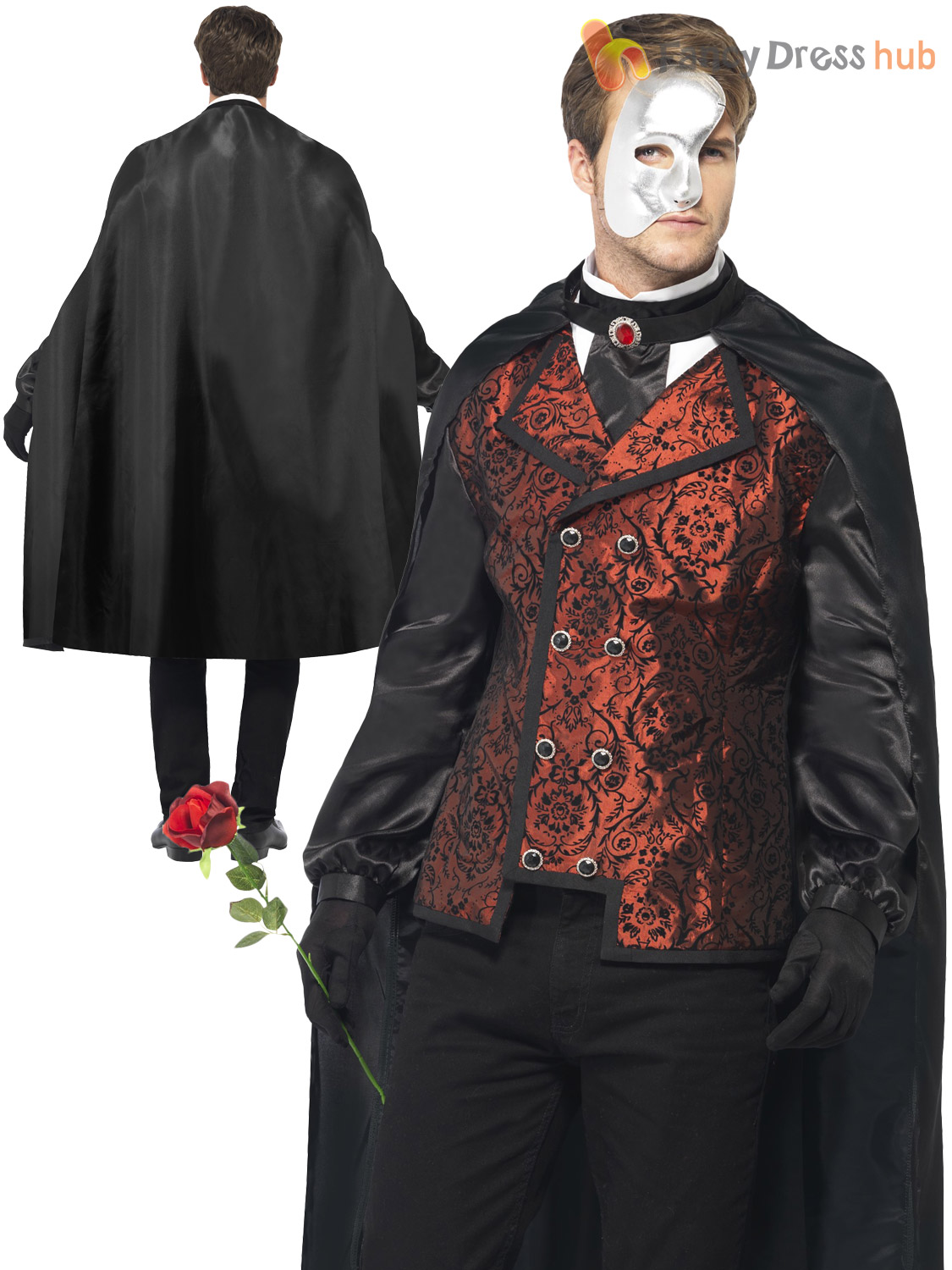 Adult Mens Halloween Masked Vampire Venetian Masquerade Ball Fancy Dress Costume | eBay