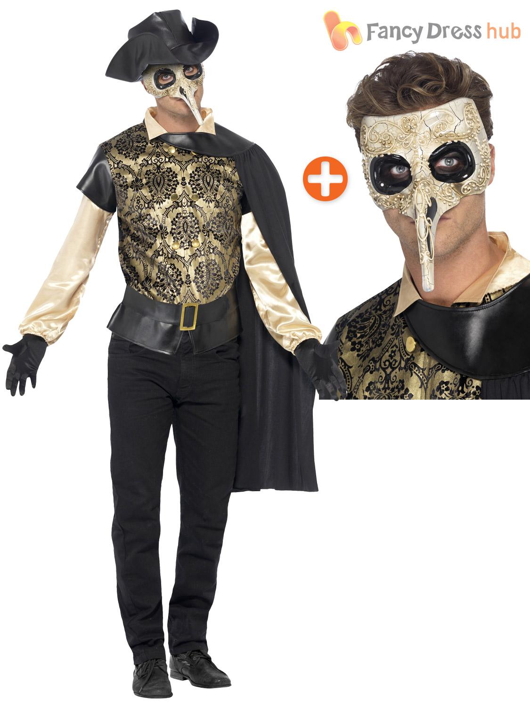 Mens Plague Doctor Costume + Mask Venetian Masquerade Halloween ...
