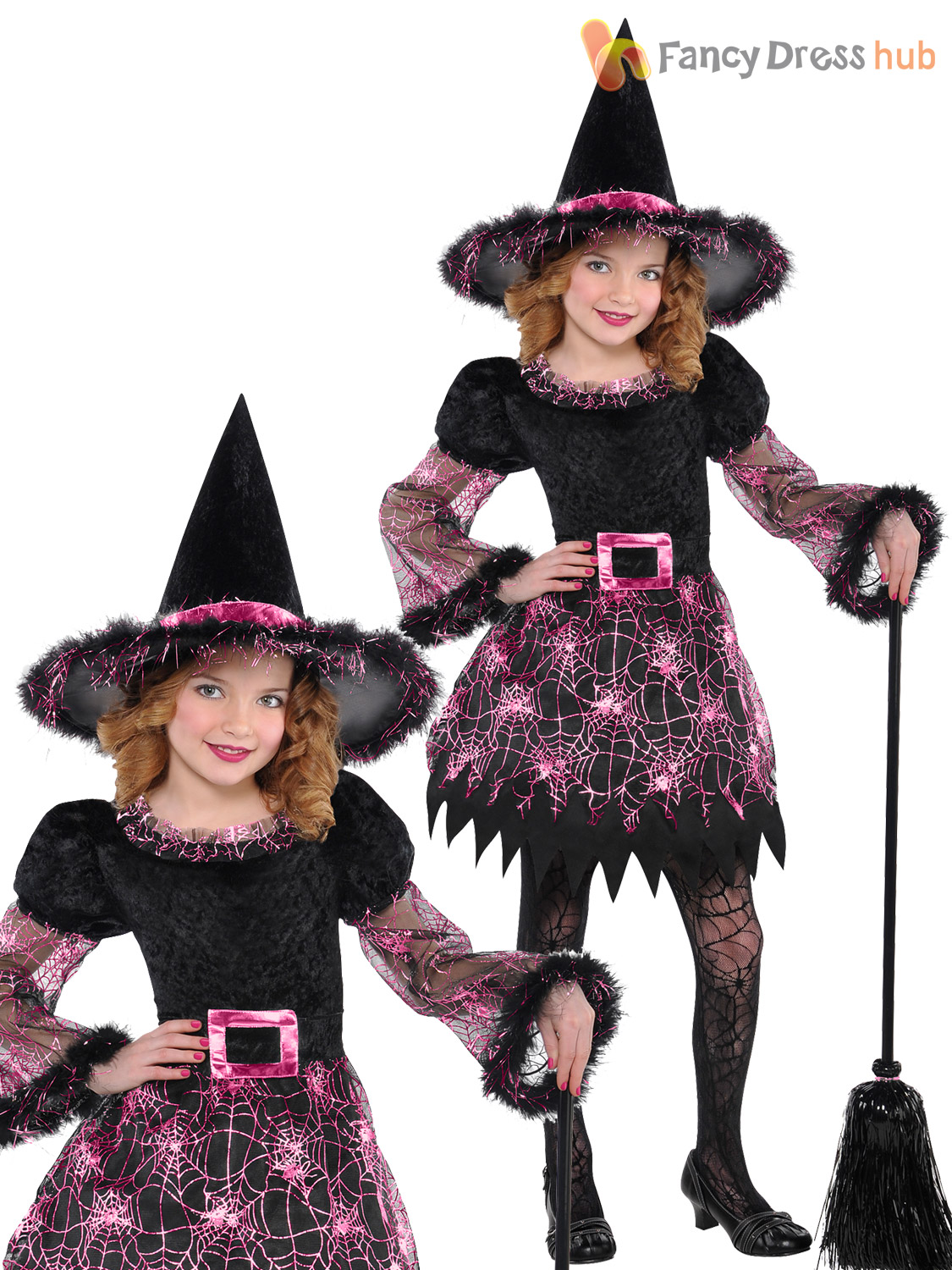 Girls Halloween Witch Costume Deluxe Fancy Dress Outfit Childrens ...