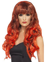 Ladies Red Long Curly Siren Wig