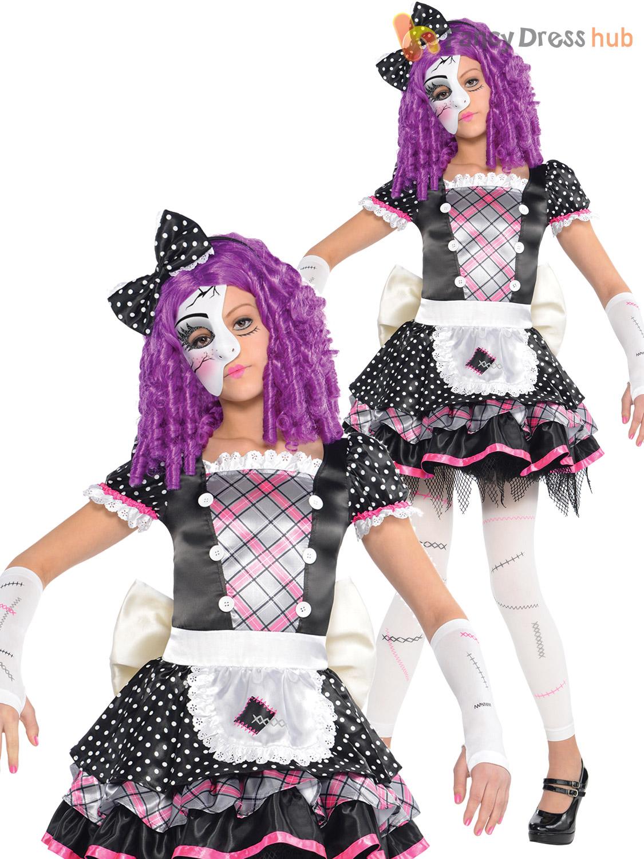 Girls Broken Damaged Doll Halloween Costume Zombie Kids Fancy ...