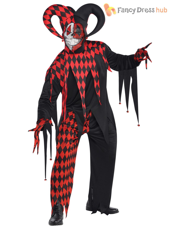 mens evil jester joker costume killer clown fancy dress costume halloween adult ebay. Black Bedroom Furniture Sets. Home Design Ideas
