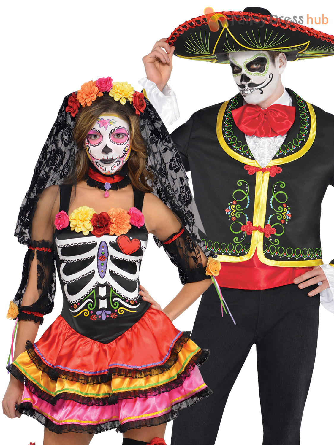 mens ladies day of the dead mexican halloween fancy dress costumes couples. Black Bedroom Furniture Sets. Home Design Ideas