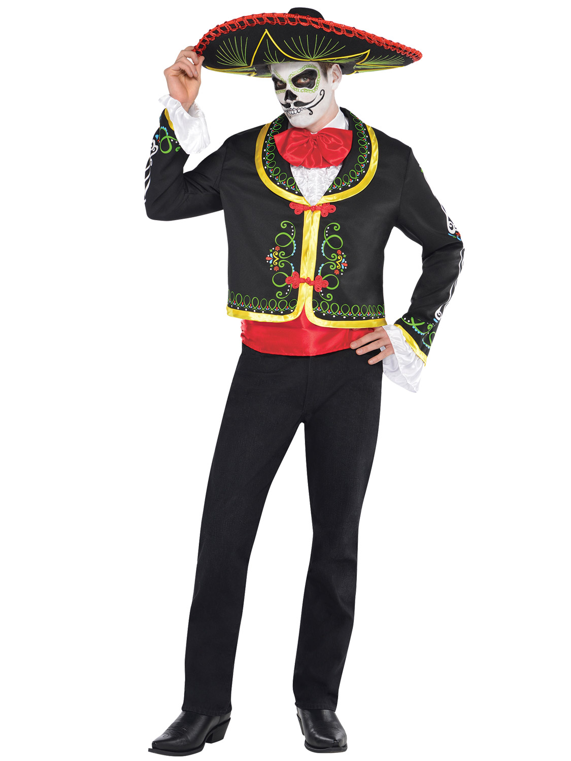 Mens Ladies Day of The Dead Mexican Halloween Fancy Dress Costumes ...