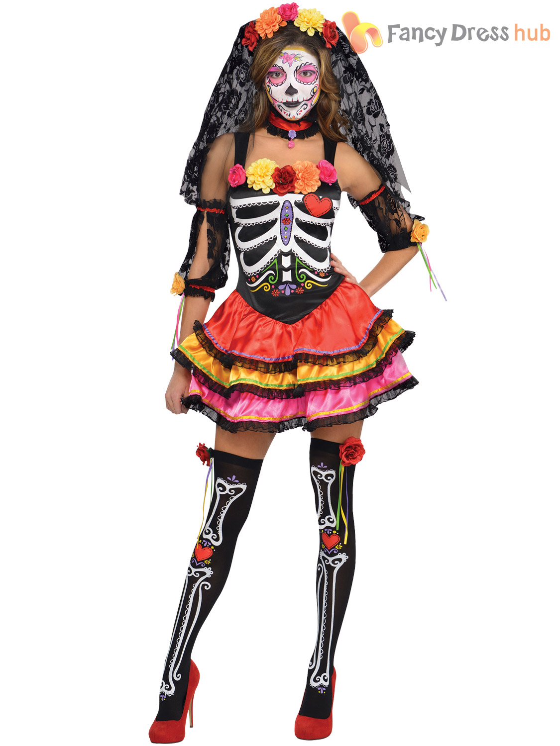 Mens Ladies Day of The Dead Mexican Halloween Fancy Dress ...