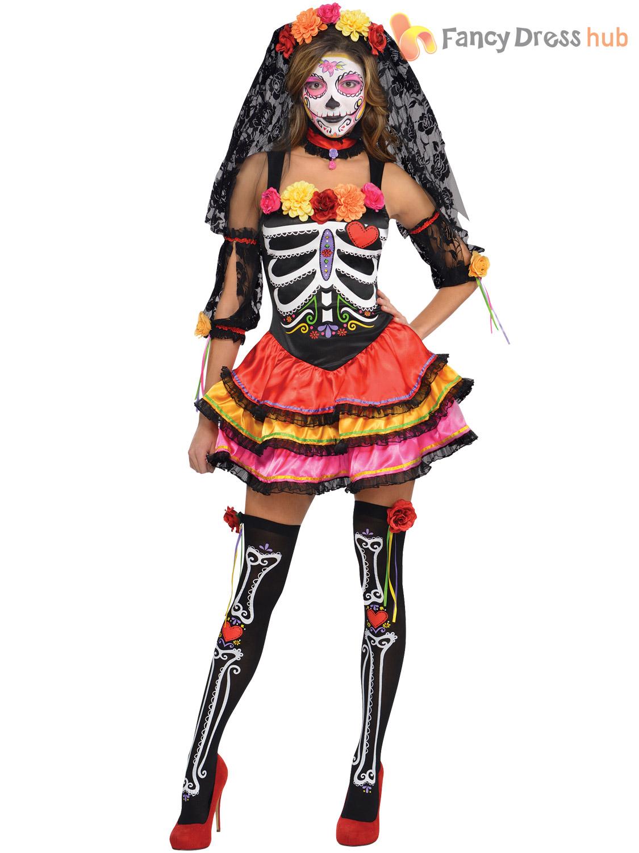 Mens Ladies Day of The Dead Costume Skeleton Halloween Fancy Dress Couples Skull