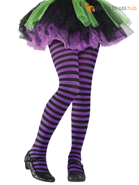 girls stripey striped tights halloween witch alice fancy dress child