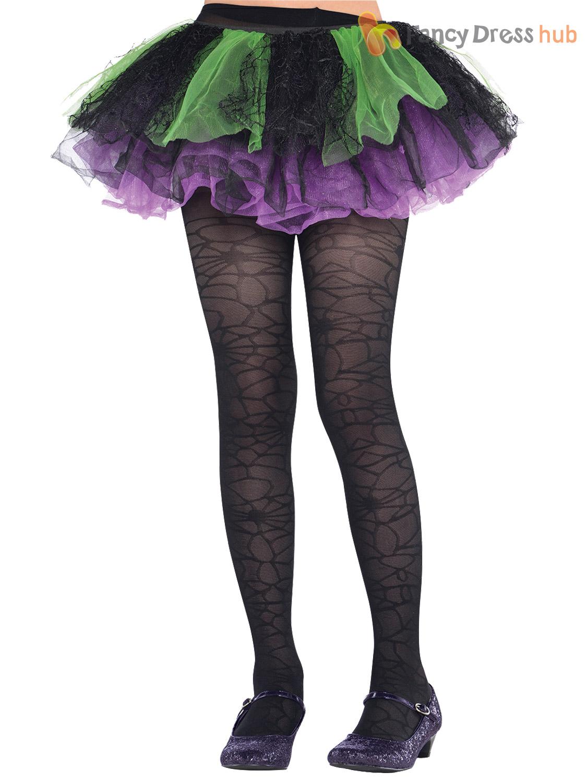 girls black spider web striped tights halloween fancy dress costume