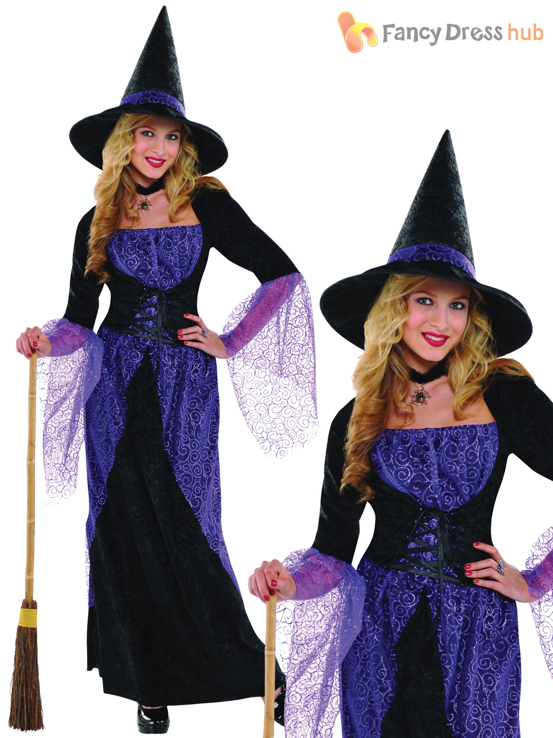 Ladies Pretty Potion Witch Costume Adults Halloween Fancy Dress Witches Outfit