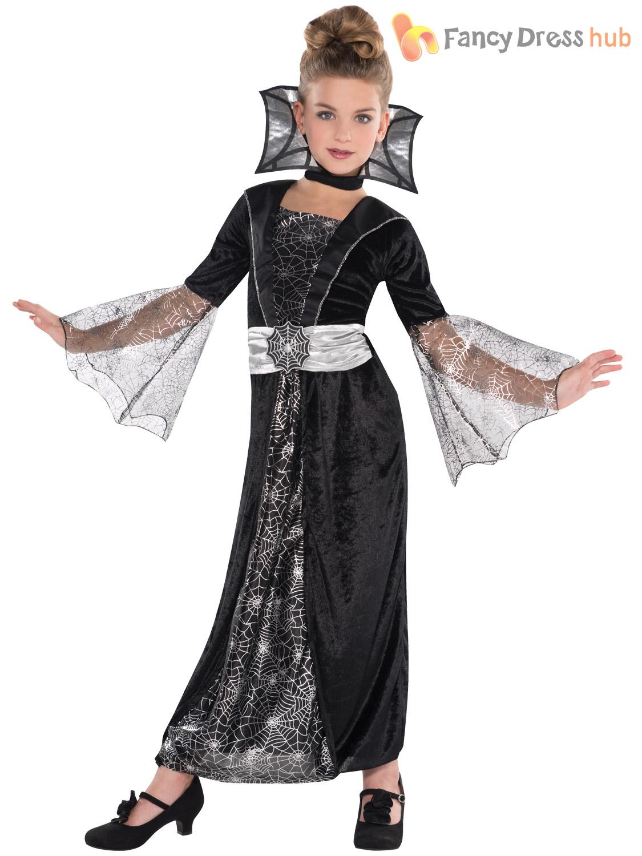Deluxe Girls Vampire Queen Costume Long Vampiress Halloween Fancy Dress Outfit | eBay