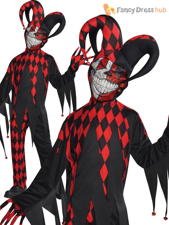 age 8 16 boys krazed jester costume mask halloween fancy dress scary clown ebay. Black Bedroom Furniture Sets. Home Design Ideas