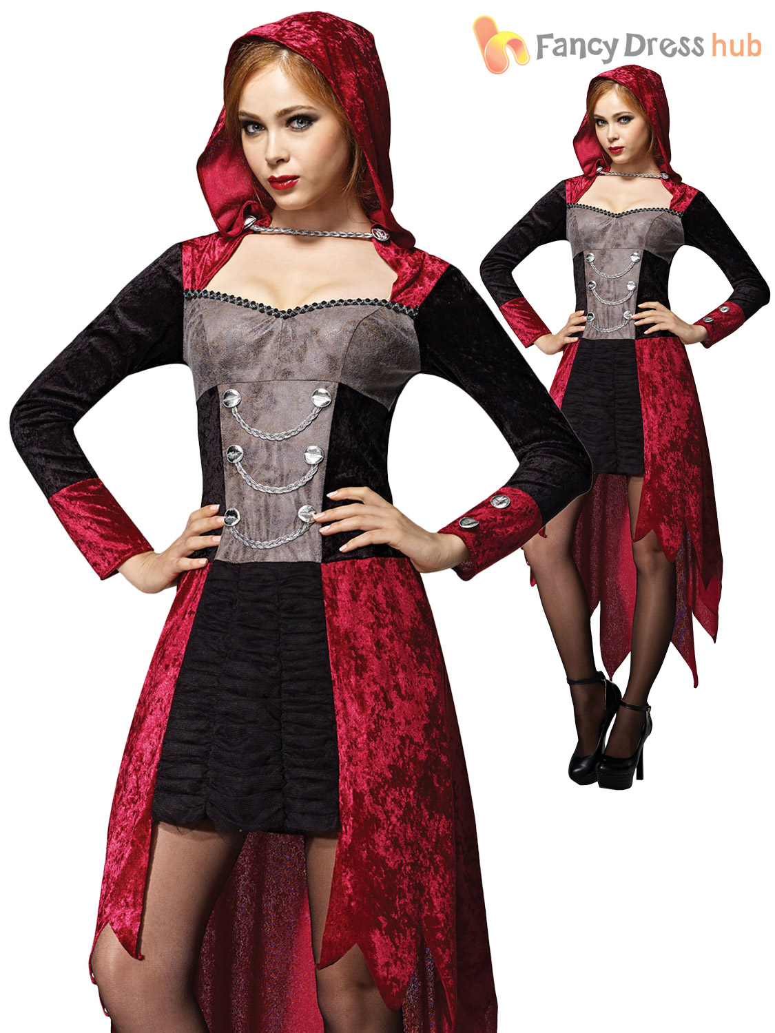 femmes gothique vampire halloween costume robe fantaisie long femme taille 10 12 14 ebay. Black Bedroom Furniture Sets. Home Design Ideas