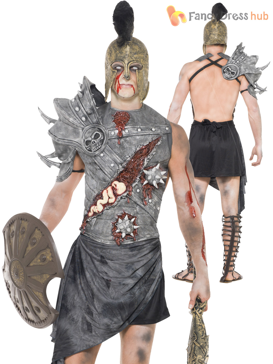 Adult Mens Ancient Egypt Zombie Pharaoh Gladiator Halloween Fancy ...