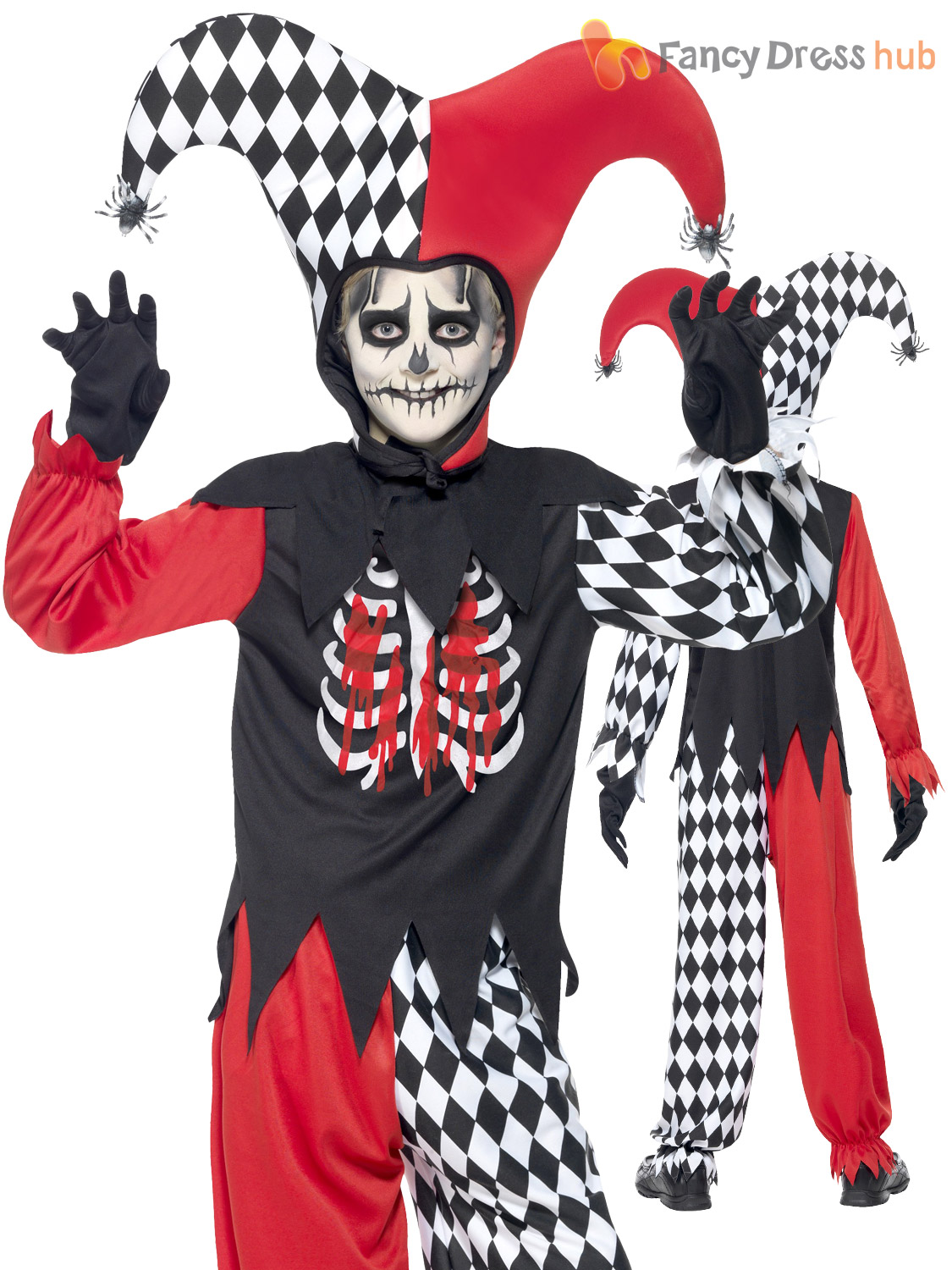 boys zombie scary clown costume evil jester horror halloween fancy dress party ebay. Black Bedroom Furniture Sets. Home Design Ideas