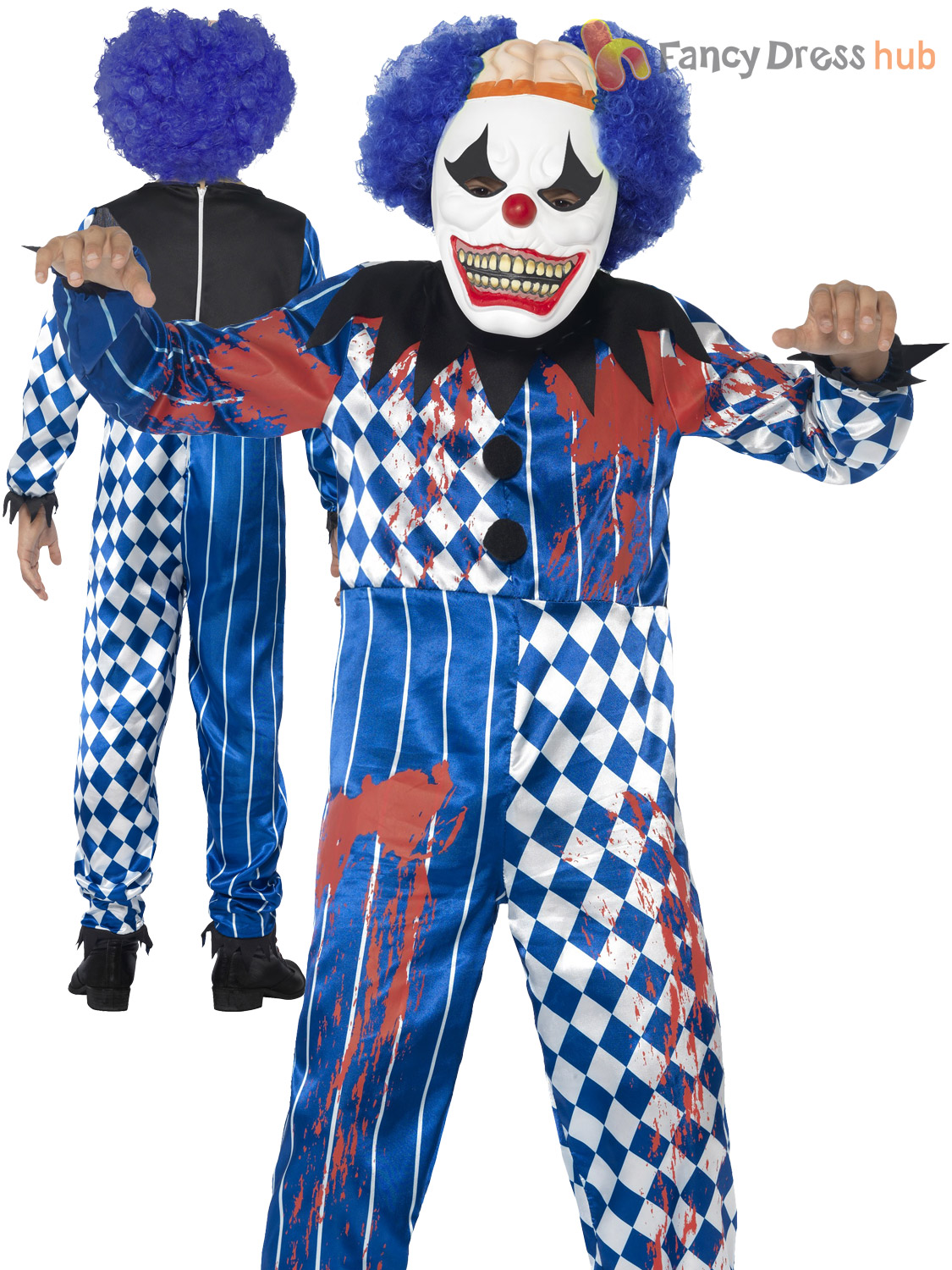 Boys Zombie Scary Clown Costume Evil Jester Horror Halloween Fancy ...