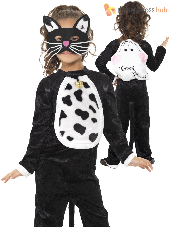 Girls Halloween Black Cat Fancy Dress Costume Outfit Book Week ...
