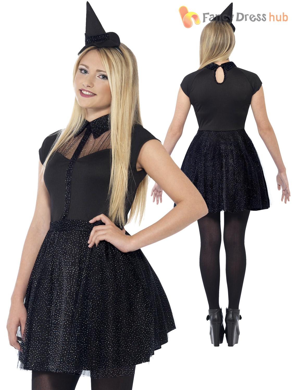 Ladies +Teen Girls Black Cat Witch Costume Halloween Fancy Dress ...
