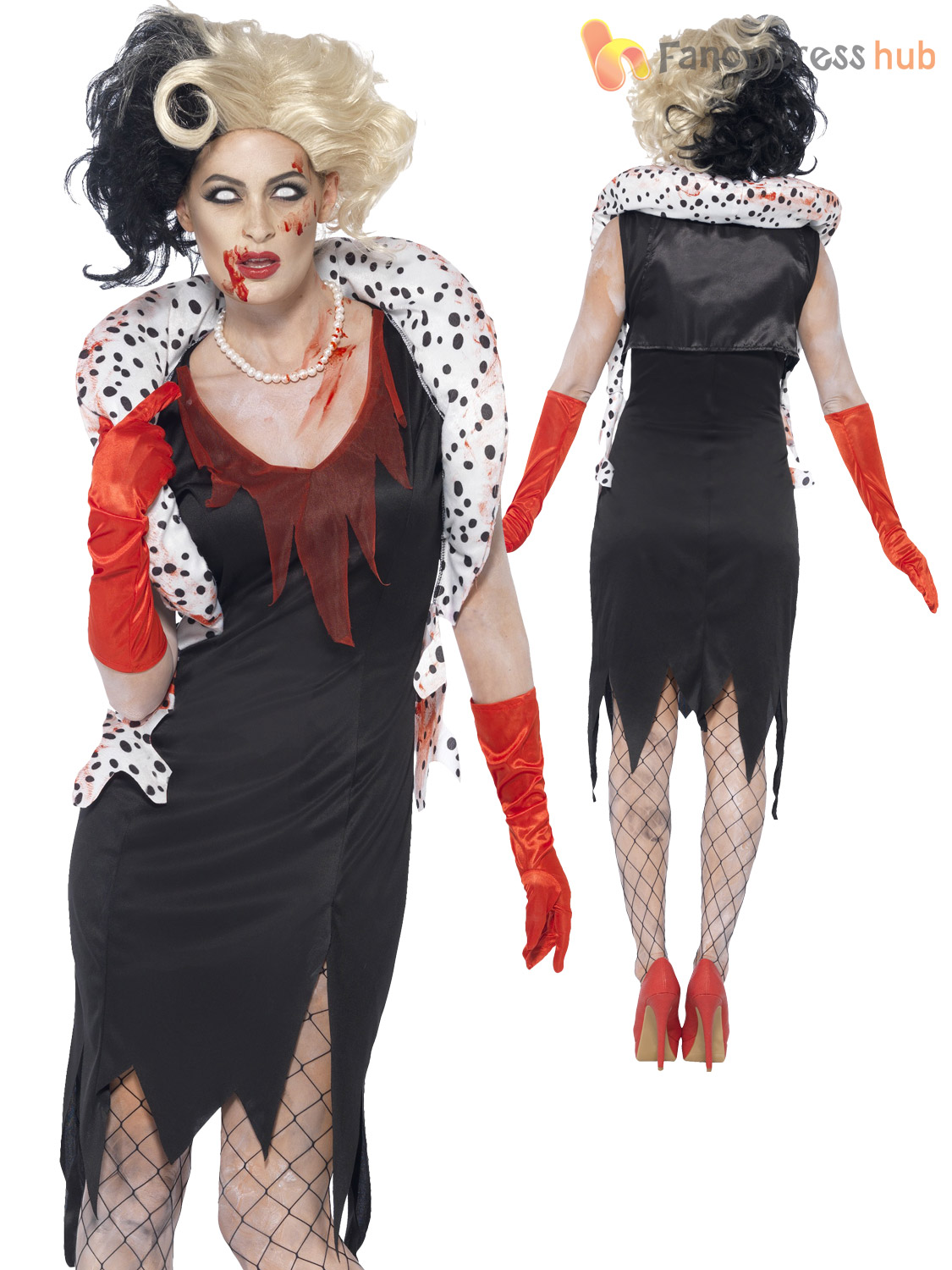 ladies zombie cruella costume black white wig evil womens halloween fancy dress ebay. Black Bedroom Furniture Sets. Home Design Ideas
