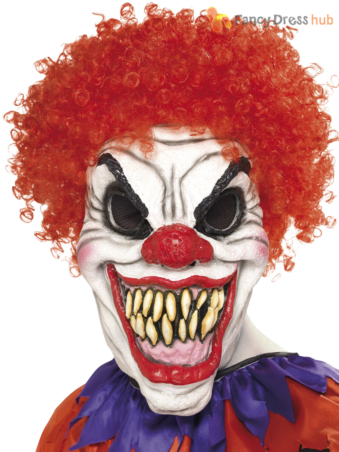 Scary Evil Killer Clown Full Latex Mask Wig Halloween Horror Fancy ...