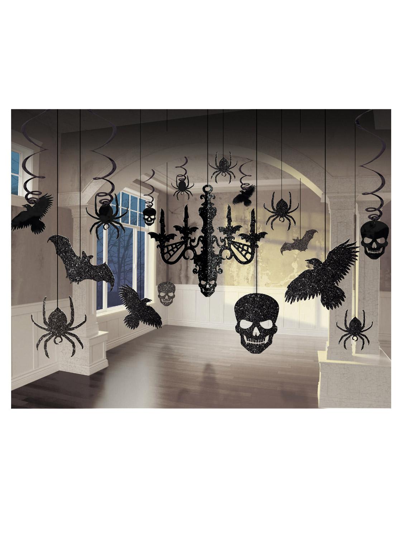 17 Pce Black Glitter Gothic Skull Hanging Chandelier
