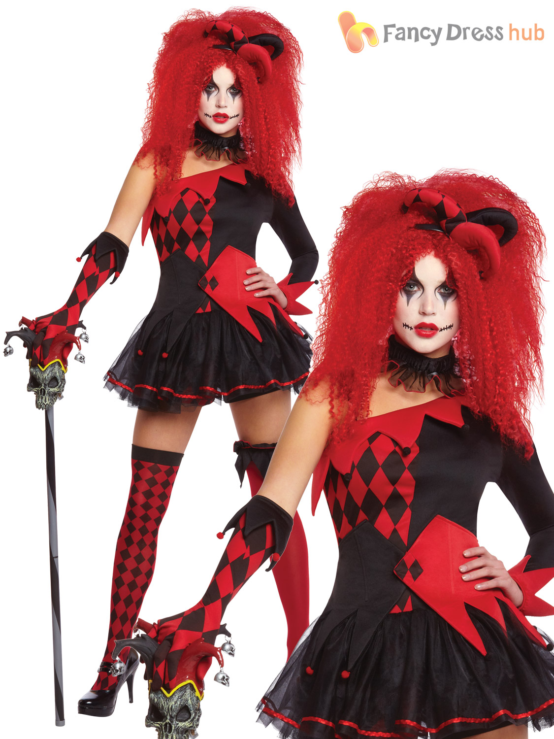 ladies evil jesterina sexy harlequin clown costume halloween fancy dress womens ebay. Black Bedroom Furniture Sets. Home Design Ideas