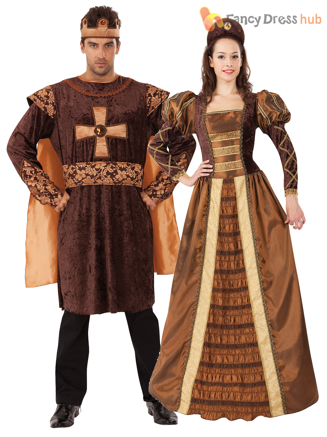 Mens Ladies Tudor King Queen Costume Medieval Historical ...