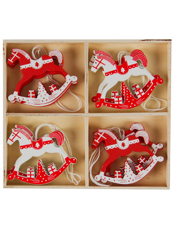 Wooden hanging christmas tree decorations set shapes xmas