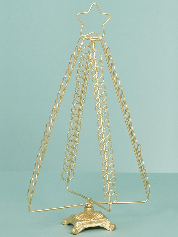 Metal christmas card holder freestanding tree 50cm gold for Christmas tree holder