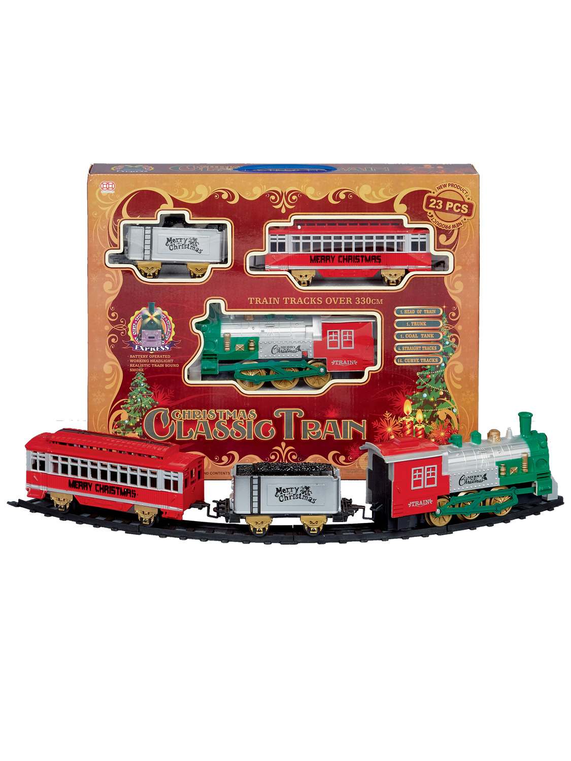 Christmas Train Set Track Gift Musical Sound Lights Around ...
