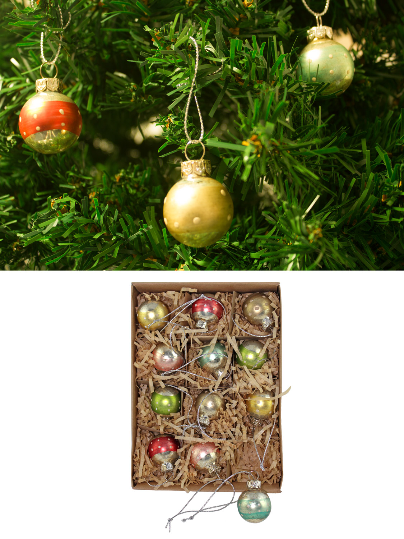 Gisela Graham Glass Christmas Tree Decorations Vintage