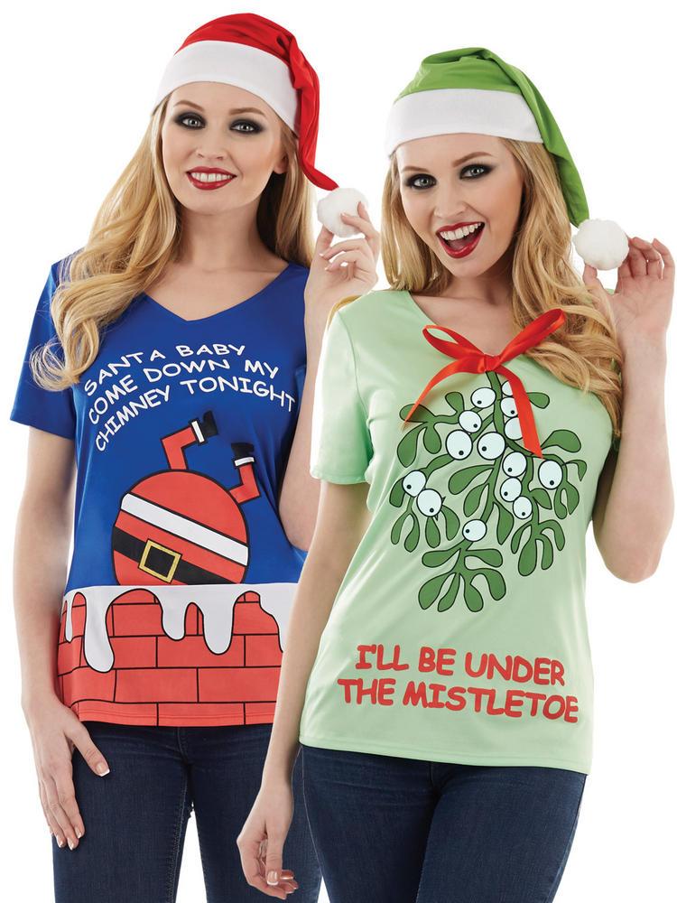 Ladies Santa Mistletoe Christmas T-Shirts