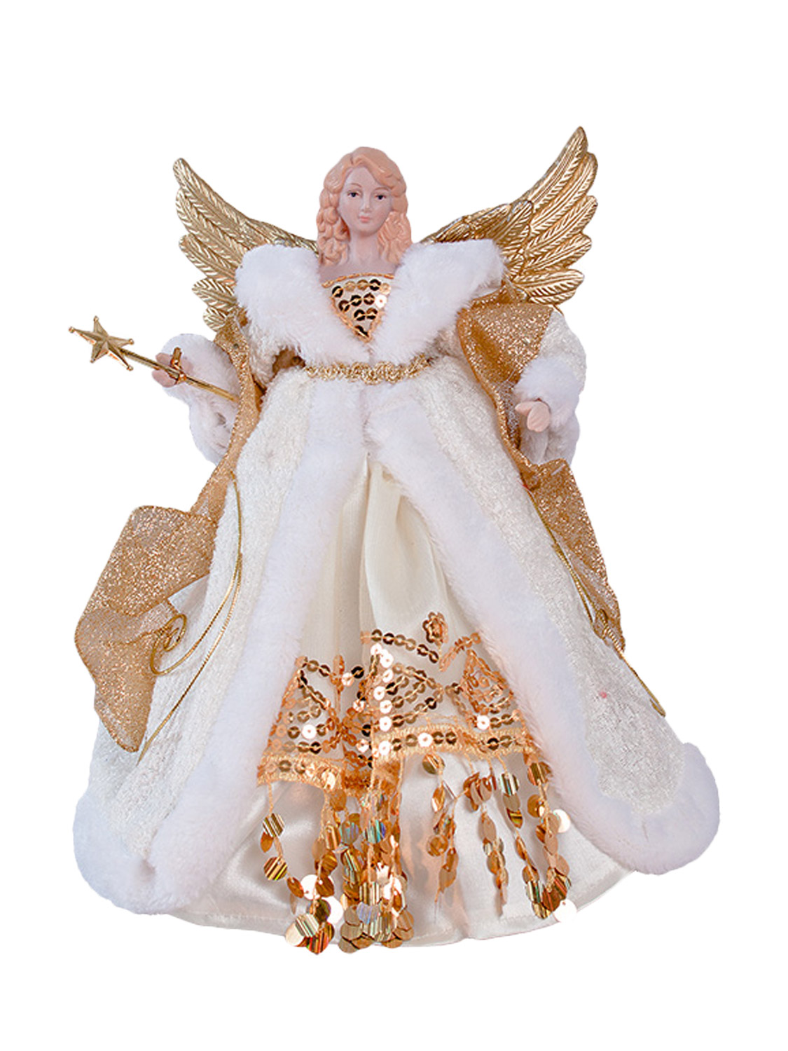 Christmas angel tree topper 12 inch 30 cm gold silver red for Angel christmas tree decoration