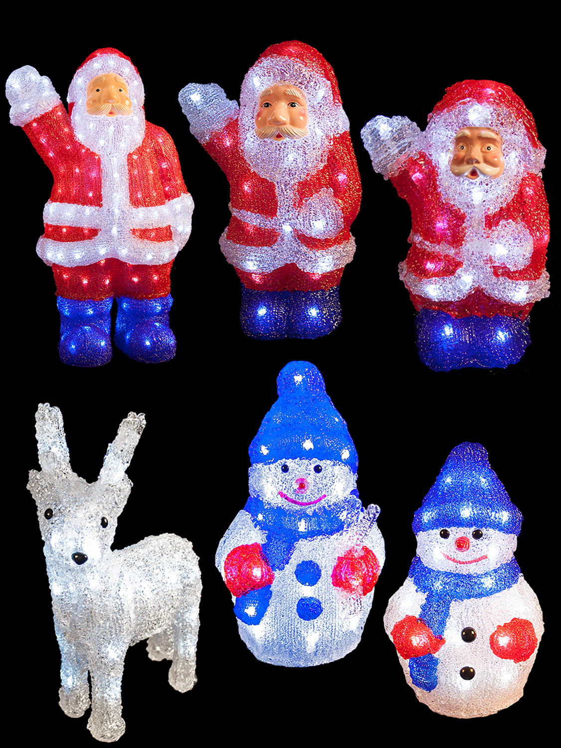 Christmas Decorations 3d Shapes Ks2 : Led acrylic christmas figures light up d santa snowman