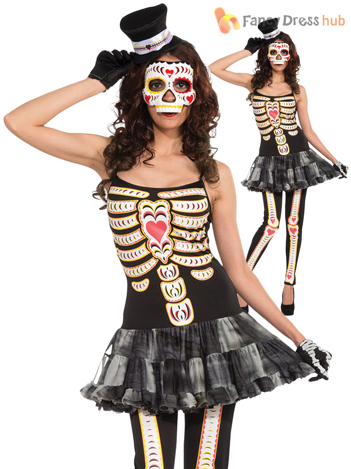 Ladies Day Of The Dead Costume Mexican Halloween Skeleton Skull ...