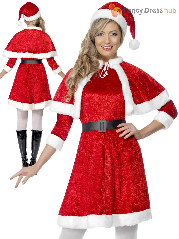 Ladies miss santa christmas fancy dress costume mrs claus