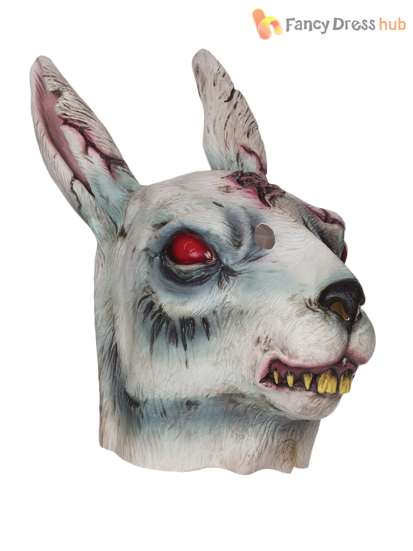 Adult Zombie Rabbit Mask Evil Bunny Horror Halloween Fancy Dress ...