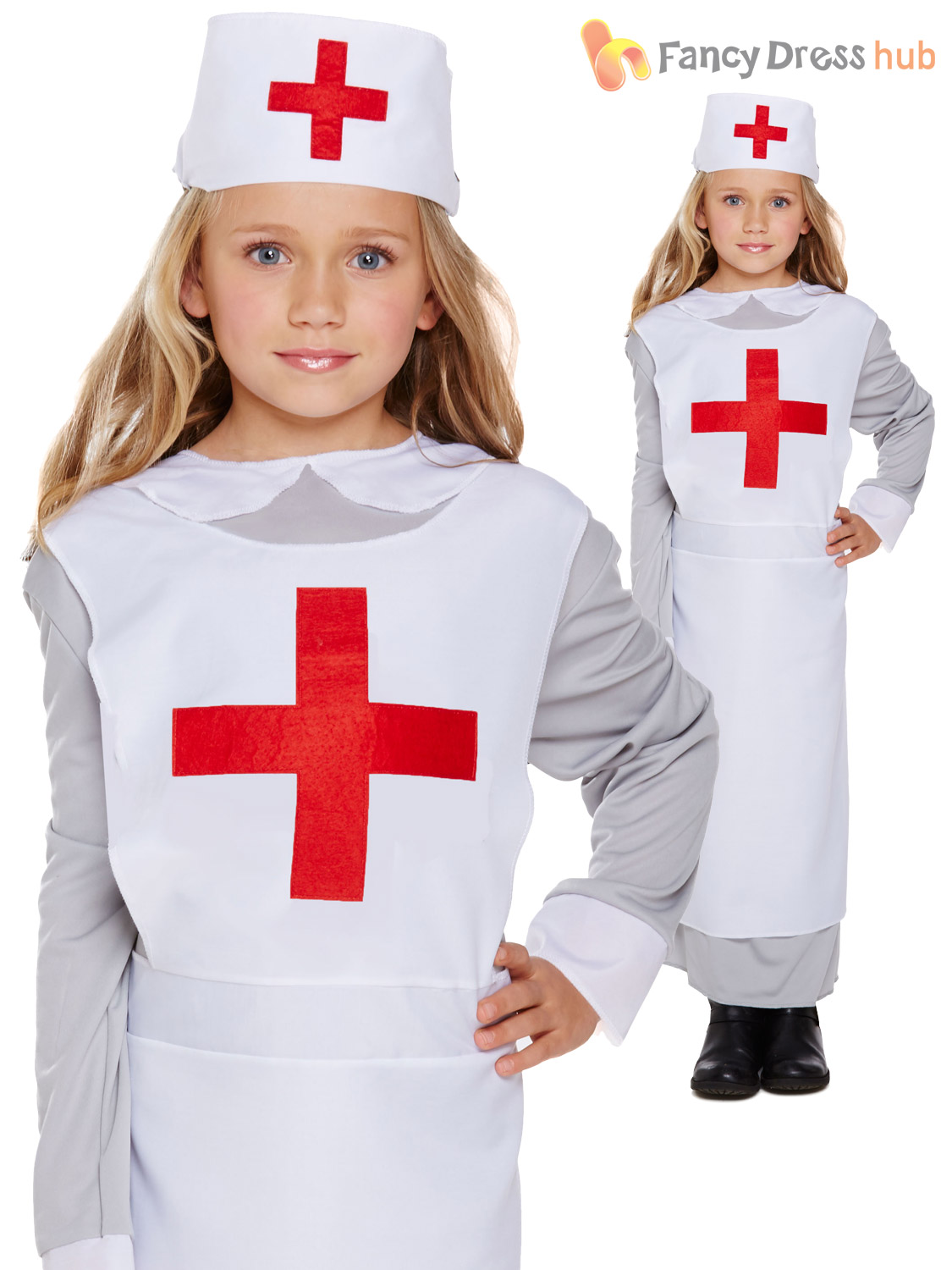 Girls-WW1-Nurse-Dress-&-Hat-Fancy-Dress-  sc 1 st  eBay : childrens nurse costume - Germanpascual.Com