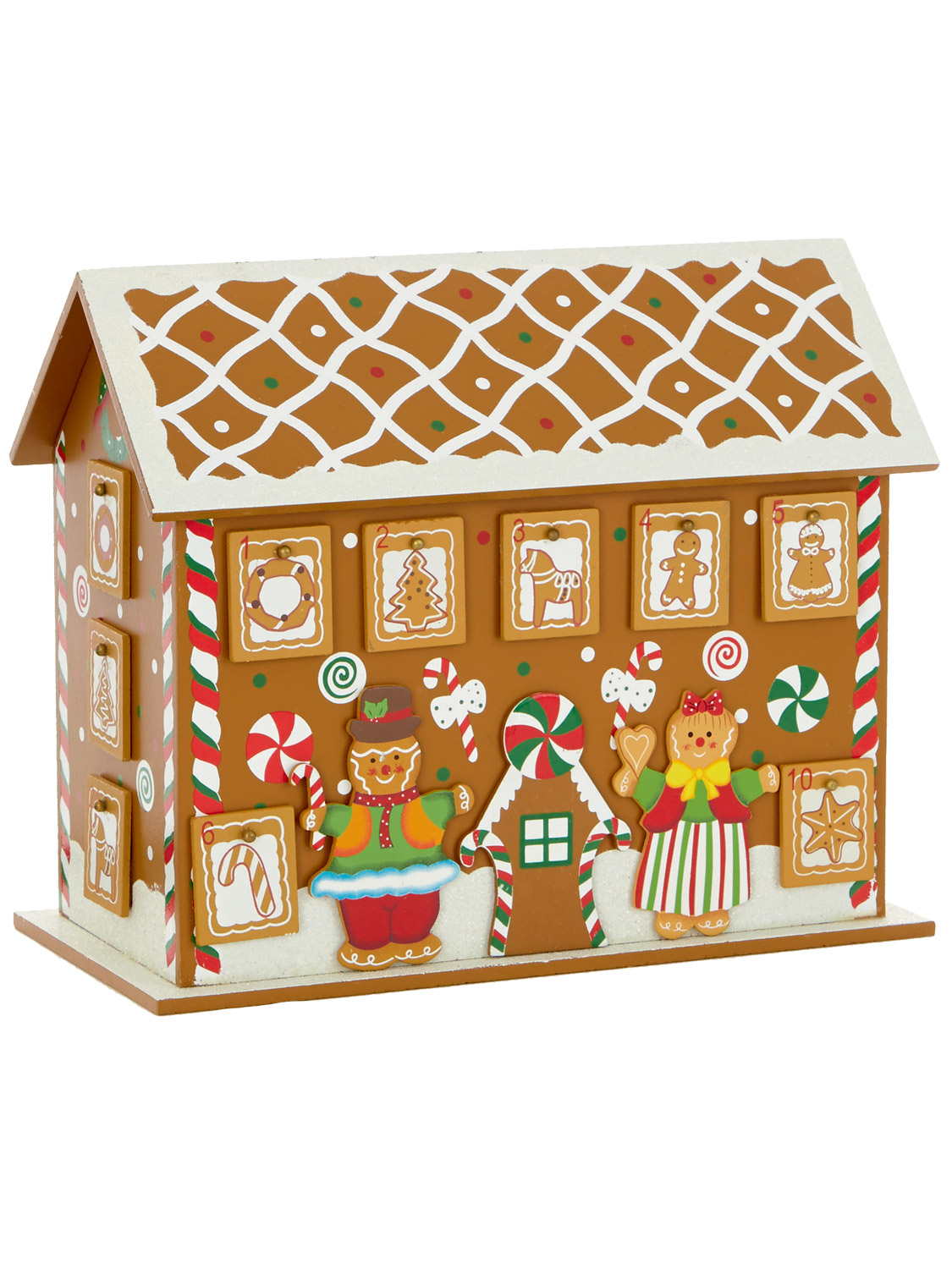 Deluxe Wooden Advent House Calendar Christmas Decoration