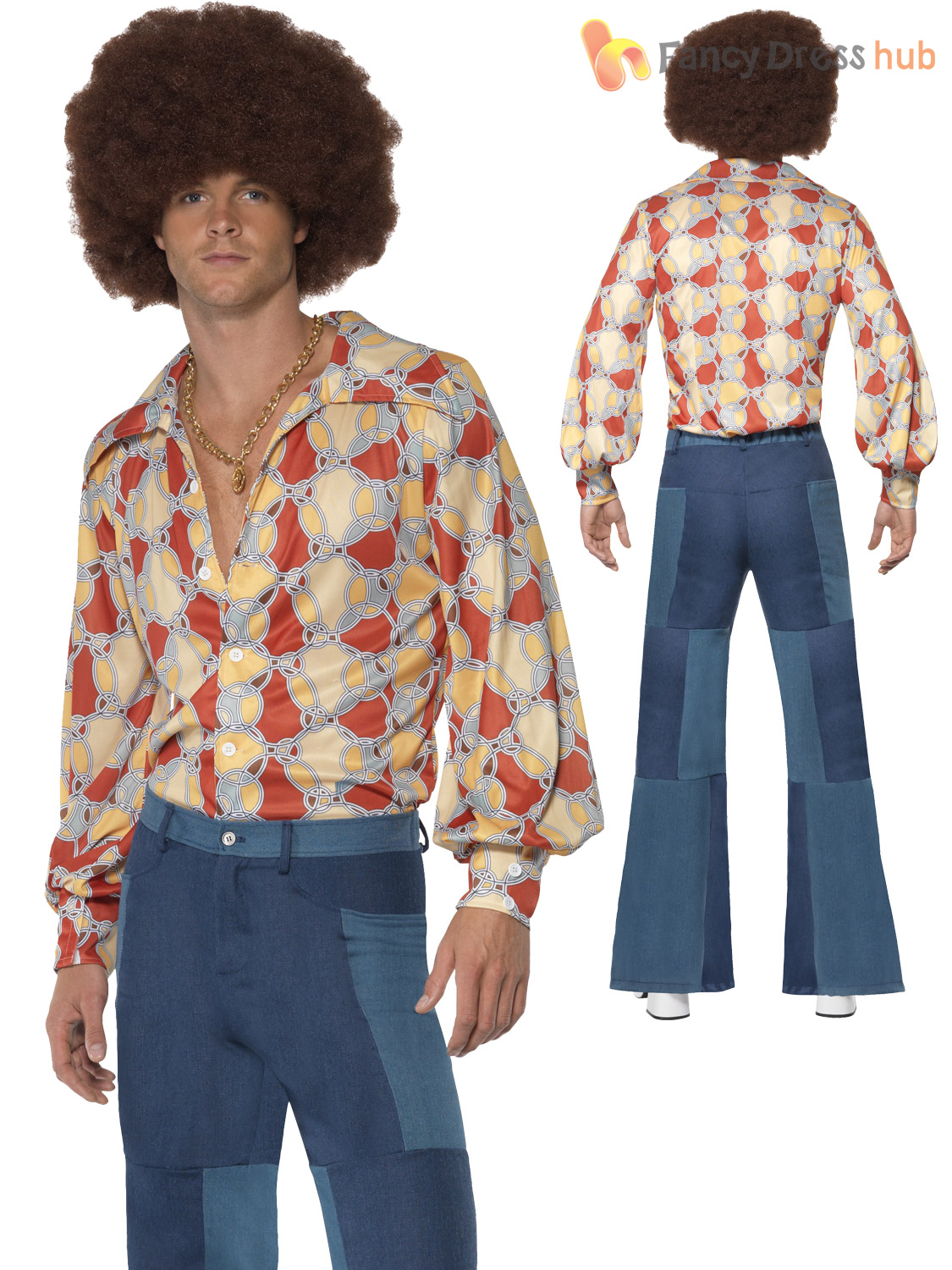 Mens Groovy Hippy Flares 60s 70s Fancy Dress Hippie Adult ...