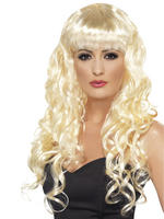 Ladies Blonde Long Curly Siren Wig