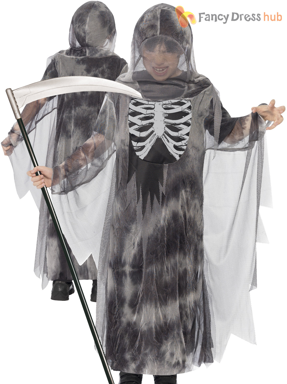 Age 4-14 Boys Skeleton Grim Reaper Scythe Costume Halloween Fancy Dress Kids