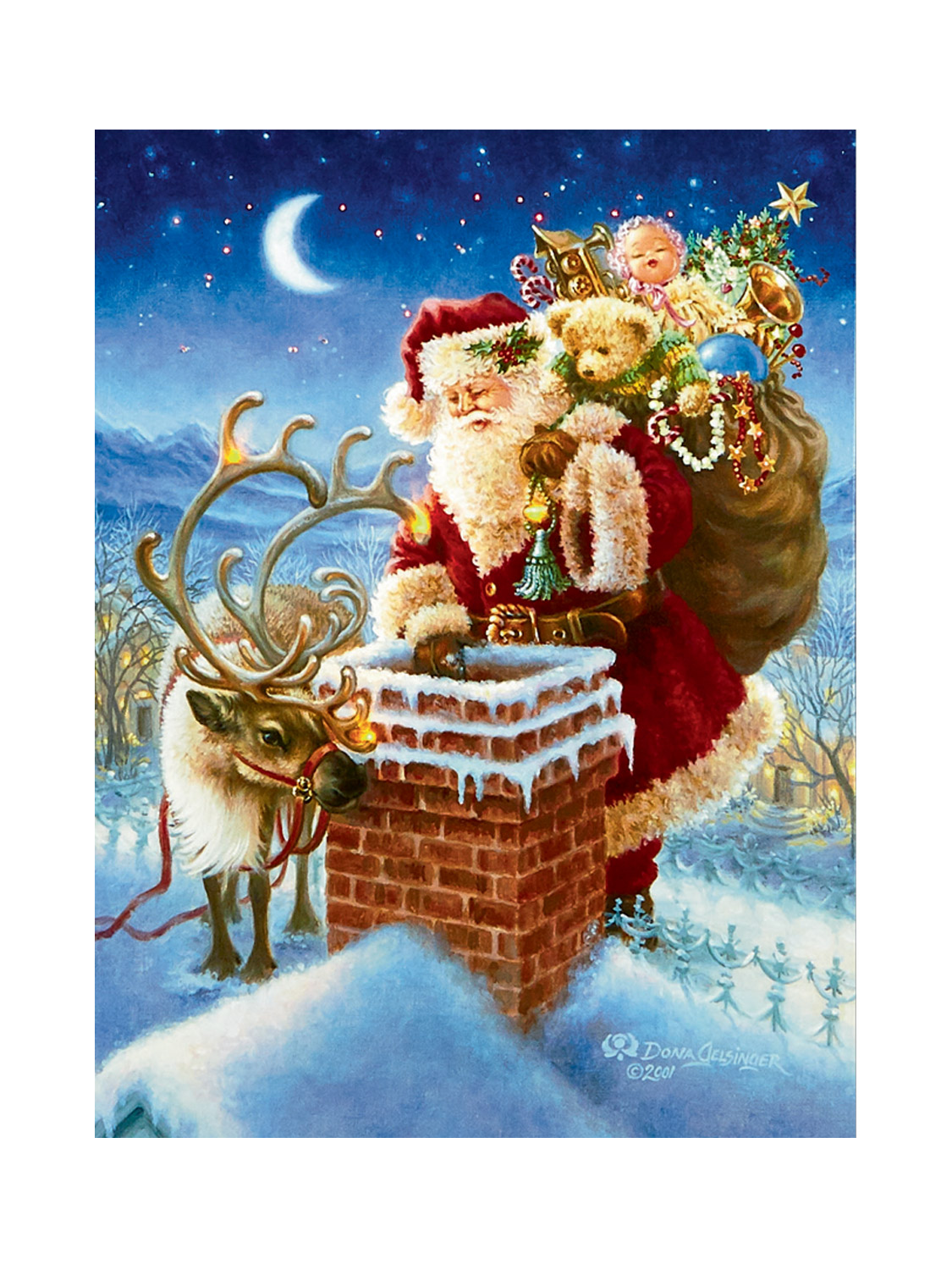 Christmas Wall Scene Decorations : Light up christmas canvas led fibre optic picture