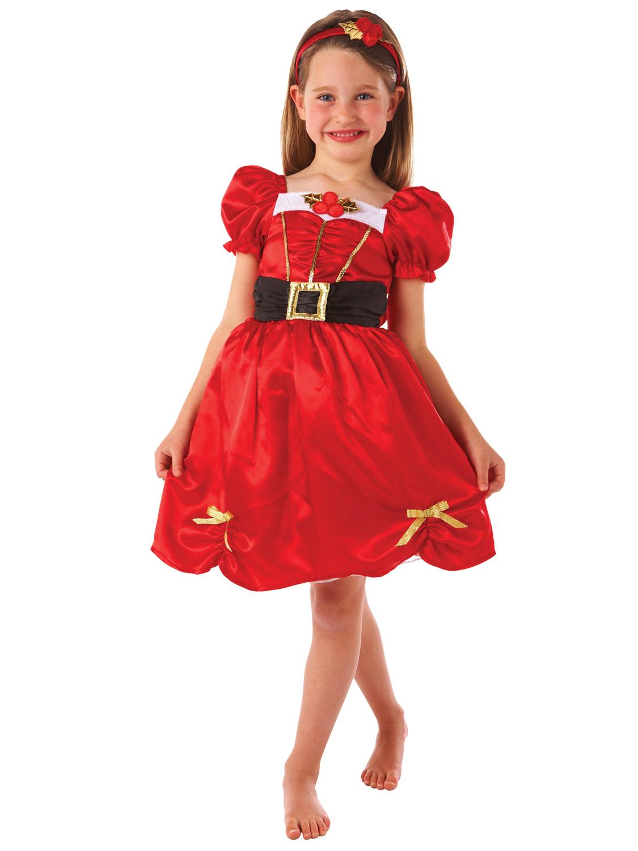 Girls miss santa christmas costume kids mrs claus xmas