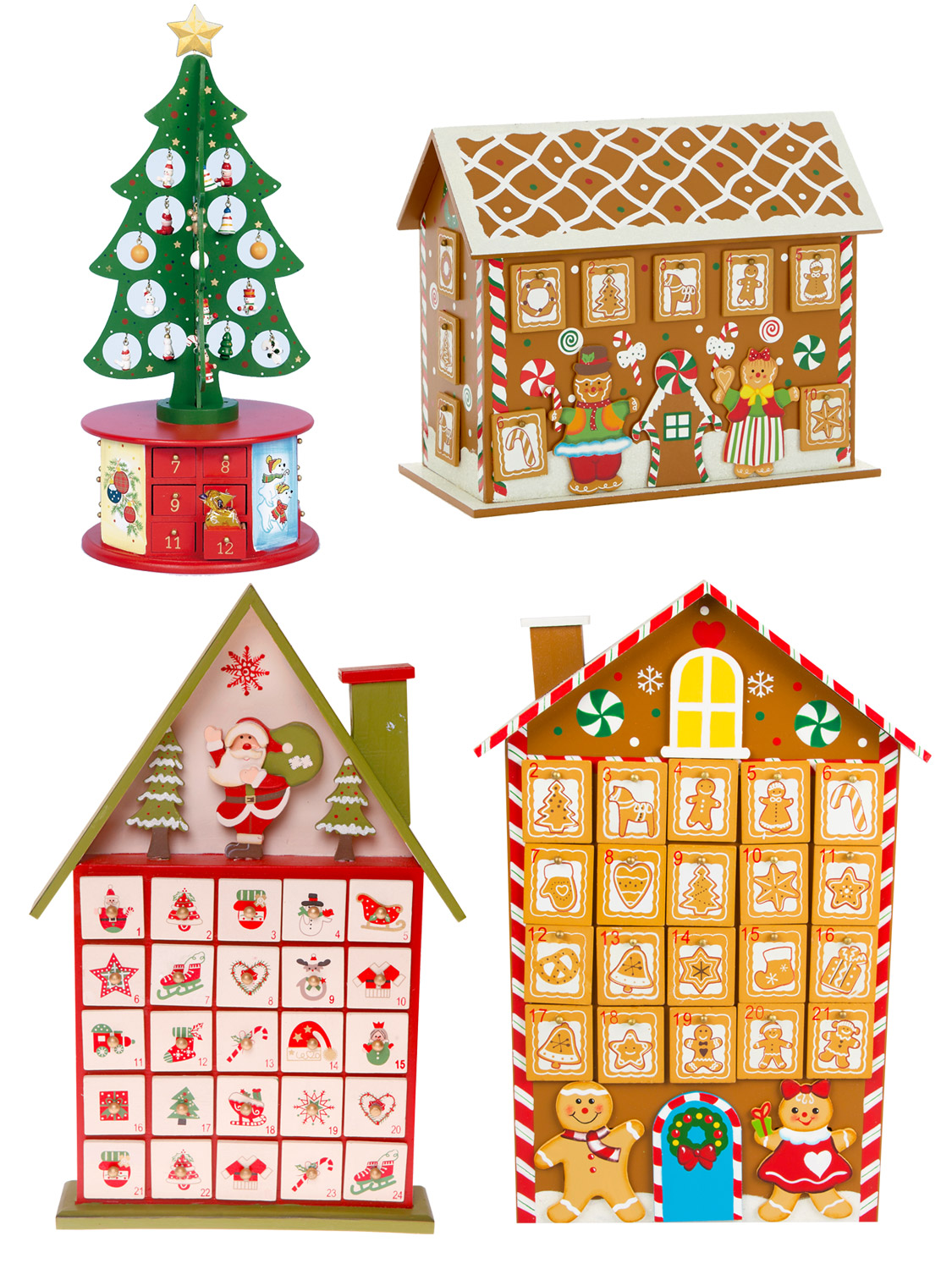 Deluxe wooden advent house calendar christmas decoration for Advent calendar decoration